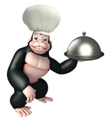 Gorilla cartoon character  with chef hat, spoon and cloche