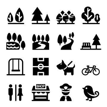 Park, public park, national park, garden icon set