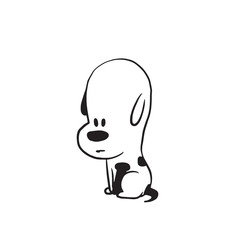 Vector cartoon image of a funny little dog black-white colors sitting sadly on a white background. Made in monochrome style. Positive character. Vector illustration.