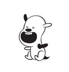 Vector cartoon image of a funny little dog black-white colors sitting with his mouth open on a white background. Made in monochrome style. Positive character. Vector illustration.
