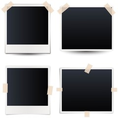 Collection of blank photo frames with adhesive tape, different shadow effects and empty space for your photograph and picture. EPS 10 vector illustration isolated on white background.