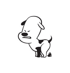 Vector cartoon image of a funny little dog black-white colors pooping on a white background. Made in monochrome style. Positive character. Vector illustration.