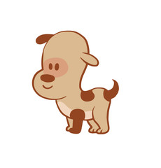 Vector cartoon image of a funny little dog light brown color standing on a white background. Color image with a brown tracings. Puppy. Positive character. Vector illustration.
