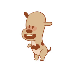 Vector cartoon image of a funny little dog light brown color standing on his hind legs on a white background. Color image with a brown tracings. Puppy. Positive character. Vector illustration.