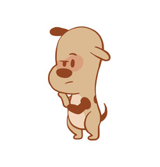 Vector cartoon image of a funny little pensive dog light brown color standing on his hind legs on a white background. Color image with a brown tracings. Puppy. Positive character. Vector illustration.