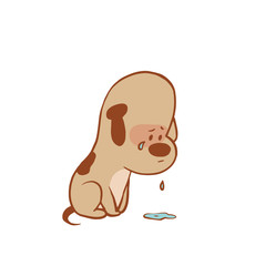 Vector cartoon image of a funny little dog light brown color sitting and crying on a white background. Color image with a brown tracings. Puppy. Positive character. Vector illustration.