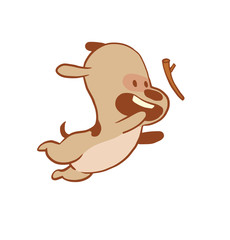 Vector cartoon image of a funny little dog light brown color jumping for a stick on a white background. Color image with a brown tracings. Puppy. Positive character. Vector illustration.