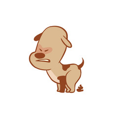 Vector cartoon image of a funny little dog light brown color pooping on a white background. Color image with a brown tracings. Puppy. Positive character. Vector illustration.