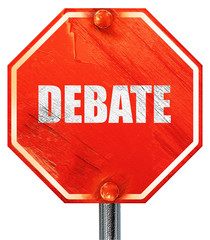 debate, 3D rendering, a red stop sign