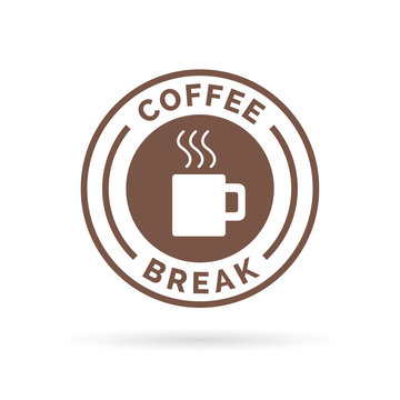 Coffee break time badge sign with brown steaming coffee mug icon silhouette. Vector illustration.