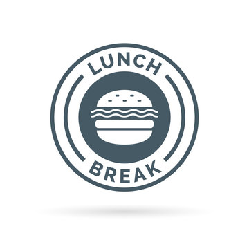 Fastfood lunch break badge sign with a cheeseburger meal icon silhouette. Vector illustration.
