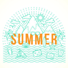 Line Style Flat Vector Summer Illustration with Isle, Ocean, Mountains, Palmtrees, Shell, Yacht and Travel Icons.