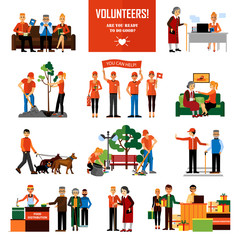 Volunteers People Decorative Icons Set