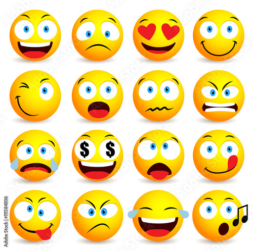 Smiley face and emoticon simple set with facial - Smiley a imprimer ...