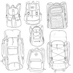 Vector Set of Sketch Doodle Backpacks