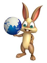 Bunny cartoon character  with earth