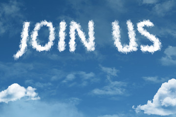 Join Us cloud word with a blue sky