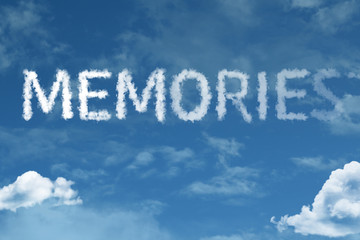 Memories cloud word with a blue sky