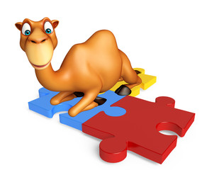 fun Camel cartoon character with puzzle