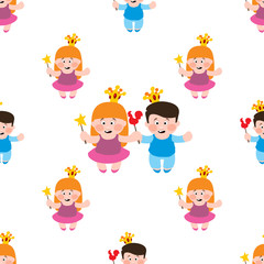 Little boy and girl seamless pattern, princess and prince, toddler and baby.