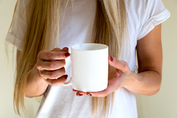 female holding a coffee mug, styled stock mockup photography