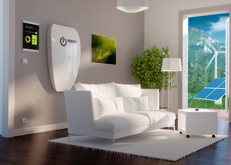 3d rendering of modern house interior with independent energy system