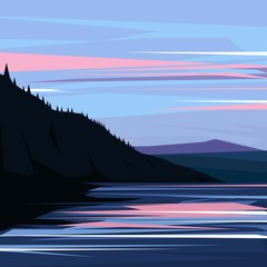 Beautiful mountain and river landscape background. Vector illustration.