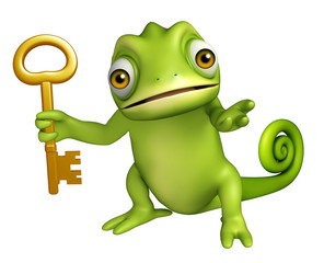 Chameleon cartoon character with key