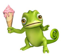 cute Chameleon cartoon character with ice cream