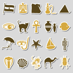 egypt country theme symbols stickers set eps10