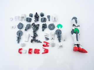 part of plastic model kit and tools for build leg robot