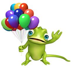 fun Chameleon cartoon character with ballons