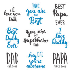 Happy Father's day lettering calligraphy greeting cards set isolated on the white background.
