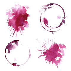Wine glass painted with watercolors on white background. Study of a wine glass. Red wine. Abstract marks and stains on the glass. Marsala color