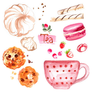 Tea painted with watercolors on white background. Figure ink on paper. Tea chanik, a cup, a bag of berries.