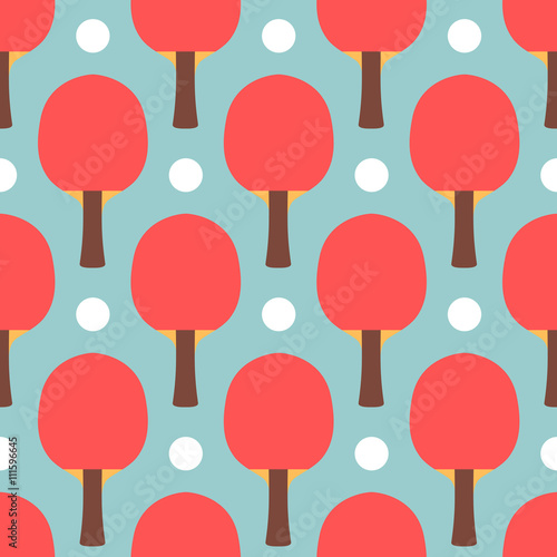 Seamless Sport Table Tennis Ping Pong Pattern Flat Style Tile Texture Background Playing Game
