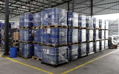Industrial barrels prepared for disposal