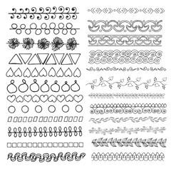Set of hand drawn line borders.