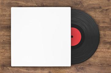 black vinyl record in paper case