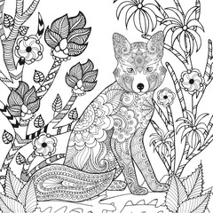 Zentangle stylized fox in garden.