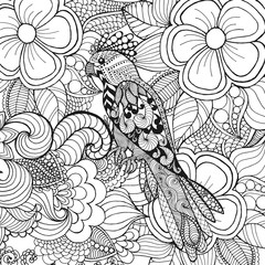 Cute parrot in fantasy flowers.