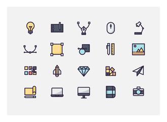 Graphic design icon set vector.line icons.