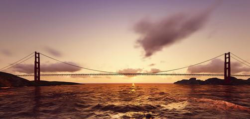 3d Bridge on sunset
