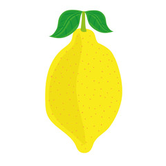 Stylized vector illustration of a single yellow lemon with green leaves on a white background
