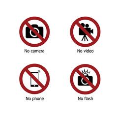 Set of prohibit electronic device sign icons