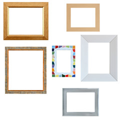 Multiple empty frames isolated on white background