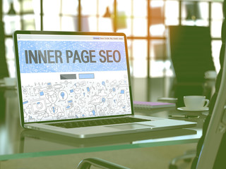 Inner Page SEO Concept Closeup on Landing Page of Laptop Screen in Modern Office Workplace. Toned Image with Selective Focus. 3D Render.