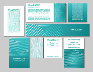 Vector set of business cards flayers banners with triangle pattern on a teal background.