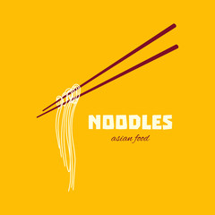 Chinese noodles and chopsticks poster. Chopsticks hovering in the air. Asian cuisine. Design template with place for your text.