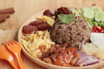 Fried rice with shrimp paste thai food.